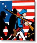 American Revolutionary Soldier Marching Metal Print