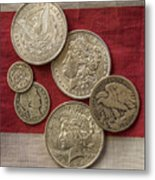 American Silver Coins Metal Print by Randy Steele