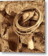 American West Legend Rodeo Western Lasso On Saddle Metal Print