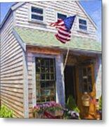 Bike And Usa Flag - Americana Series 04 Metal Print