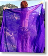 Ameynra Belly Dance. Purple Veil Metal Print