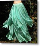 Ameynra Design Aqua-green Chiffon Skirt Metal Print