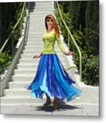 Ameynra Fashion. Petal Skirt. Model Sofia Metal Print