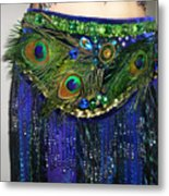 Ameynra Fashion Skirt With Peacock Feathers Metal Print