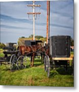 Amish At The Auction Metal Print