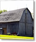 Amish Barn With Gambrel Roof And Hay Bales Indiana Usa Metal Print