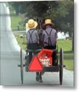 Amish Boys On A Ride Metal Print