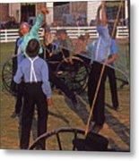 Amish Boys Play Volleyball Farm Metal Print