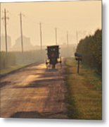 Amish Buggy And Corn Over Your Head Metal Print