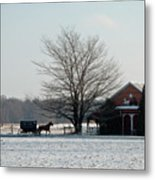 Amish Buggy And Old School Metal Print