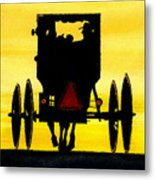 Amish Buggy At Dusk Metal Print