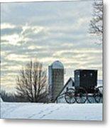 Amish Buggy At Morning Metal Print