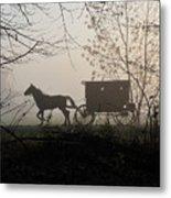Amish Buggy Foggy Sunday Metal Print