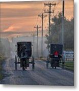 Amish Buggy Sunday Morning Metal Print