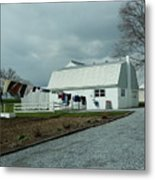 Amish Clothesline And A Barn Metal Print
