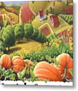 Amish Country - Pumpkin Patch Country Farm Landscape Metal Print