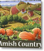 Amish Country T Shirt - Pumpkin Patch Country Farm Landscape 2 Metal Print