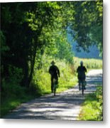 Amish Couple On Bicycles Metal Print