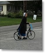 Amish Girl Going To Work Metal Print