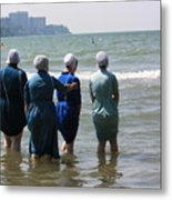 Amish Girls In The Surf Metal Print