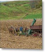Amish Harvest In Ohio  Metal Print