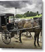 Amish Horse And Buggy Metal Print