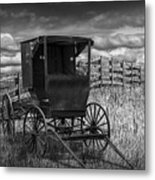 Amish Horse Buggy In Black And White Metal Print