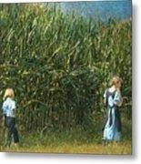 Amish Siblings In Cornfield  Metal Print