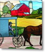 Amish Stained Glass Metal Print