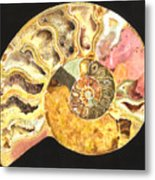 Ammonite Fossil Metal Print