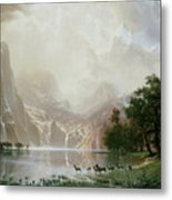 Among The Sierra Nevada Mountains California Metal Print by Albert Bierstadt