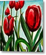 Among The Tulips Metal Print