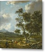 Amsterdam A Landscape With Cattle  Metal Print