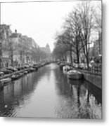 Amsterdam Canal Black And White 2 Metal Print