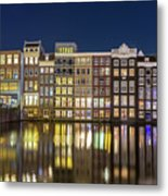 Amsterdam Canal Houses At Night Metal Print