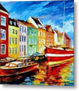 Amsterdam-city Dock - Palette Knife Oil Painting On Canvas By Leonid Afremov Metal Print