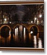 Amsterdam - Night Life L B With Decorative Ornate Printed Frame. Metal Print
