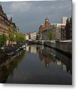 Amsterdam - Singel Canal With The Floating Flower Market Metal Print