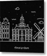 Amsterdam Skyline Travel Poster Metal Print