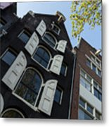 Amsterdam Spring - Arched Windows And Shutters - Right Metal Print