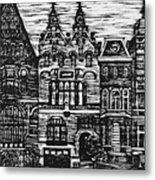 Amsterdam Woodcut Metal Print