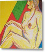 Amy In Colored Inks Metal Print