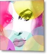 Amy Portrait Pink Yellow  Metal Print
