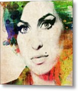 Amy Winehouse Colorful Portrait Metal Print