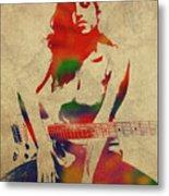 Amy Winehouse Watercolor Portrait Metal Print