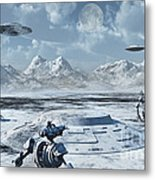 An Alien Base Located In The Antarctic Metal Print