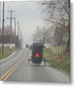 An Amish Buggy In April Metal Print