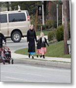 An Amish Family Going For A Walk Metal Print