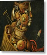 An Anthropomorphic Still Life With Pots Pans Cutlery A Loom And Tools Metal Print