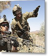 An Army Soldier Informs A Marine Metal Print